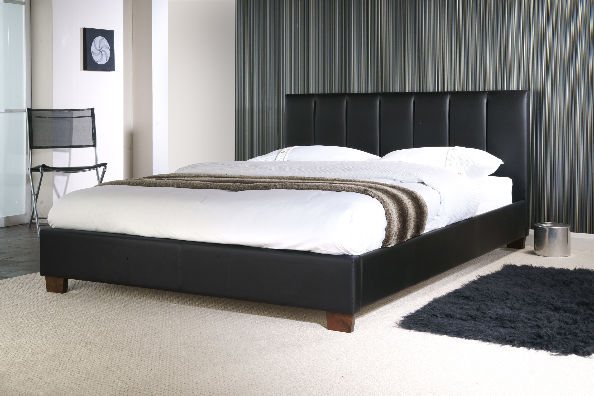 gibraltar brown faux leather bed frame sensation sleep. Black Bedroom Furniture Sets. Home Design Ideas