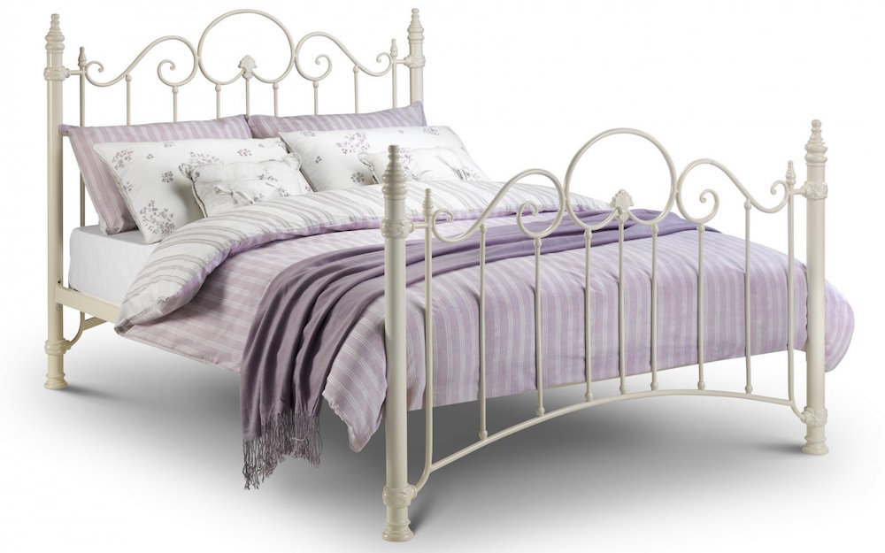 Stone White Victorian Style Bed Frame With Ornate
