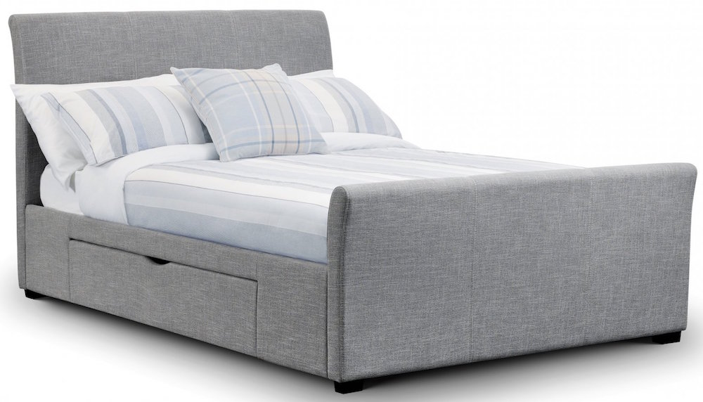 rome light grey linen bed frame with drawers sensation sleep beds and mattresses. Black Bedroom Furniture Sets. Home Design Ideas