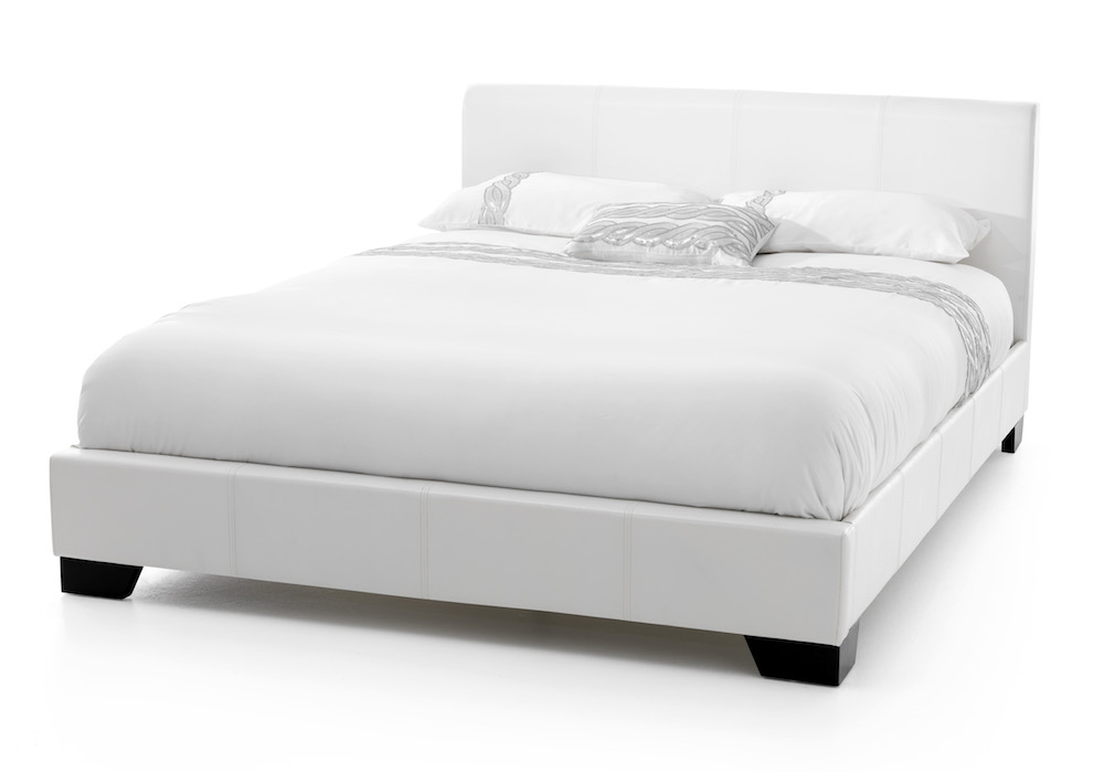 Madrid White Faux Leather Bed Frame - Sensation Sleep Beds and ...