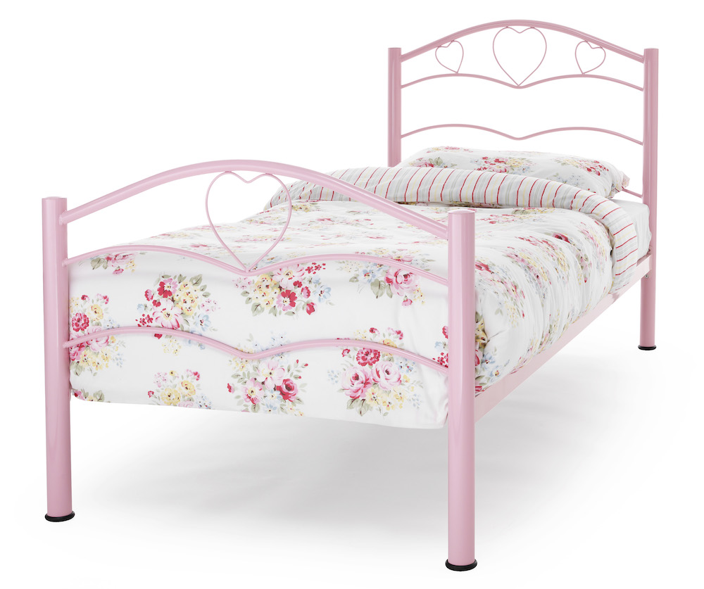 Tanzania Pink Heart Metal Bed Frame Sensation Sleep Beds