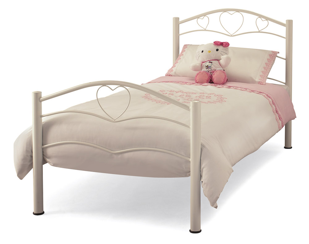 Tanzania White Heart Metal Bed Frame - Sensation Sleep Beds and ...