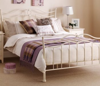 Josephine Stone White Metal Bed Frame