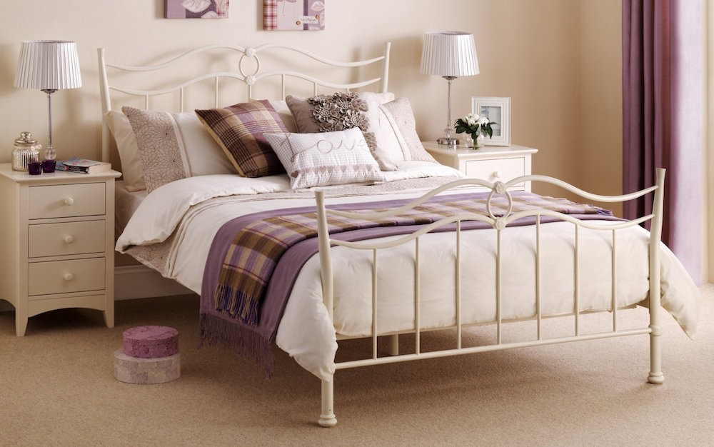 Ribbon Effect Metal Bed Frame Stone White Shabby Chic