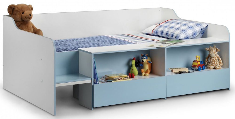 Space saving low sleeper childs bed frame with shelves and for Space saving bed frame