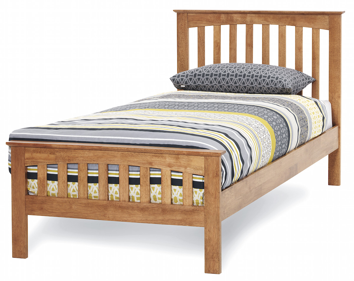 Yeoville Hevea Hard Wood Honey Oak Bed Frame