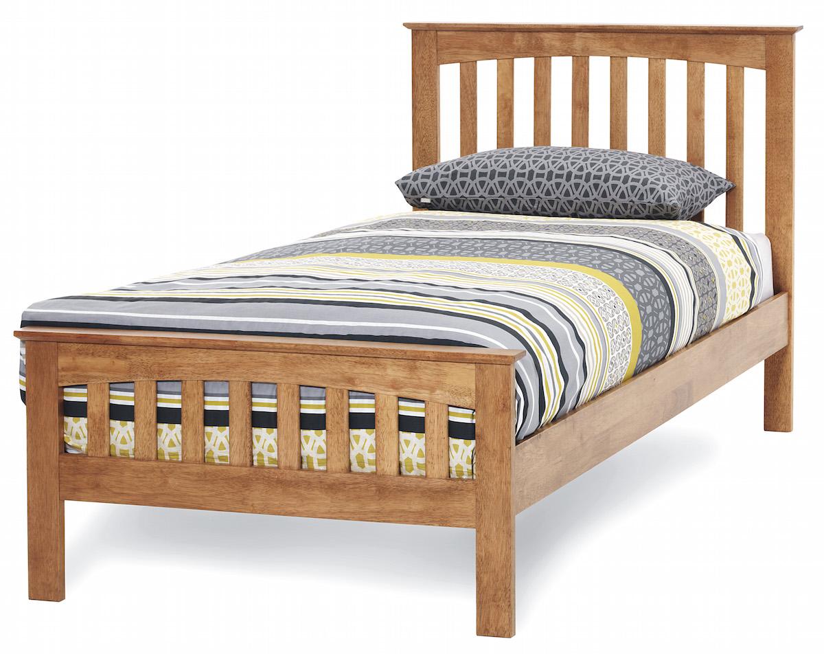 Yeoville Hevea Hard Wood Honey Oak Bed Frame Sensation