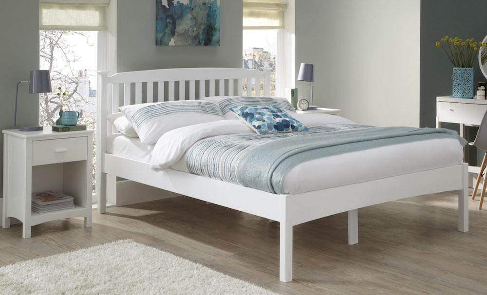 Camden Hevea Hard Wood Opal White Bed Frame Sensation