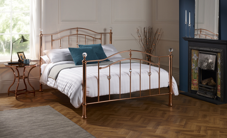 mumbai rose gold metal bed frame sensation sleep beds 11703 | metalbedrosegold julietltablerosegold s1