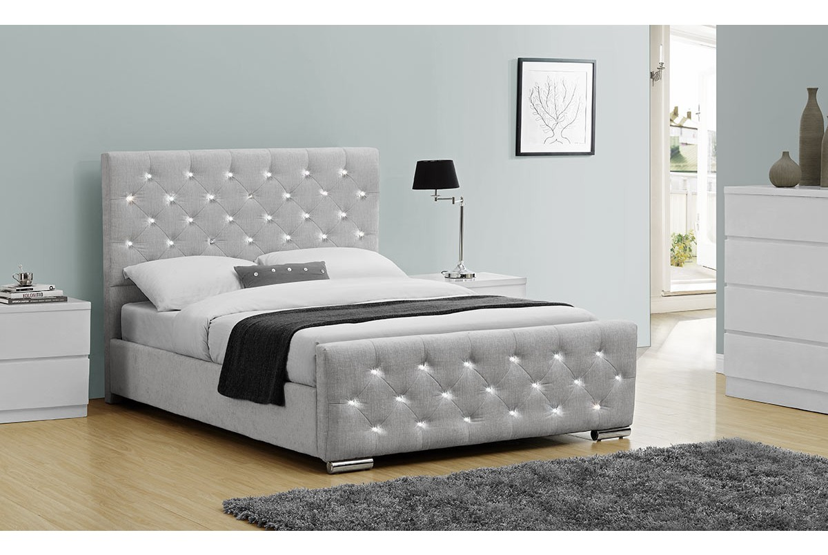 Chelsea diamante crystal grey chenille fabric bed frame for Grey divan king size bed