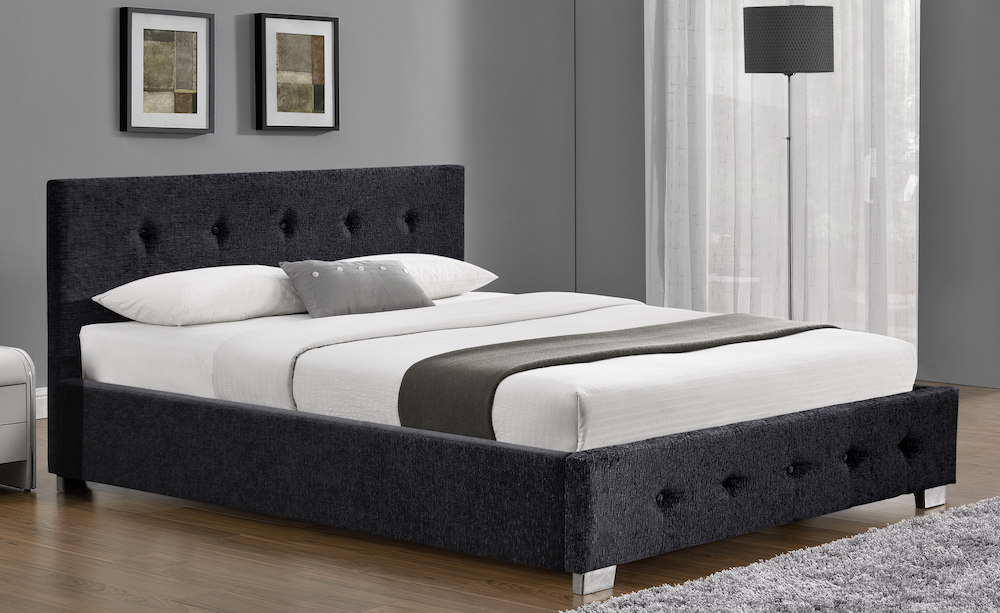 Derby Charcoal Chenille Fabric Ottoman Bed Frame