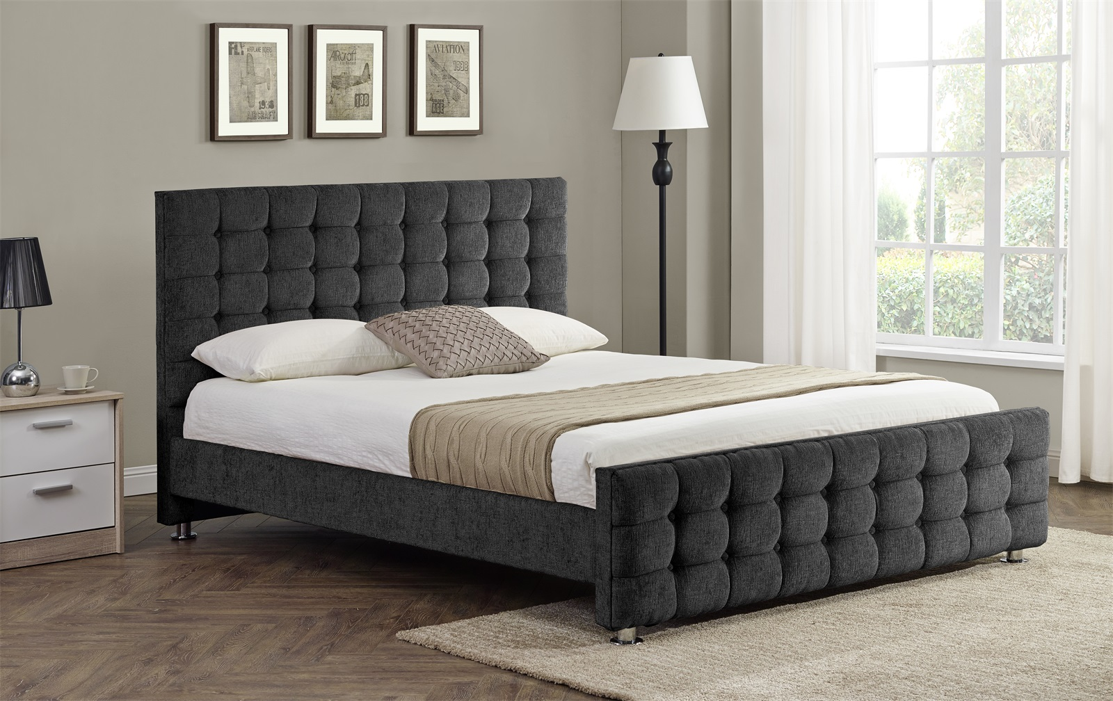 Boston buttoned detail charcoal bed frame sensation sleep beds and mattresses - Beautiful snooze bedroom suites packing comfort in style ...
