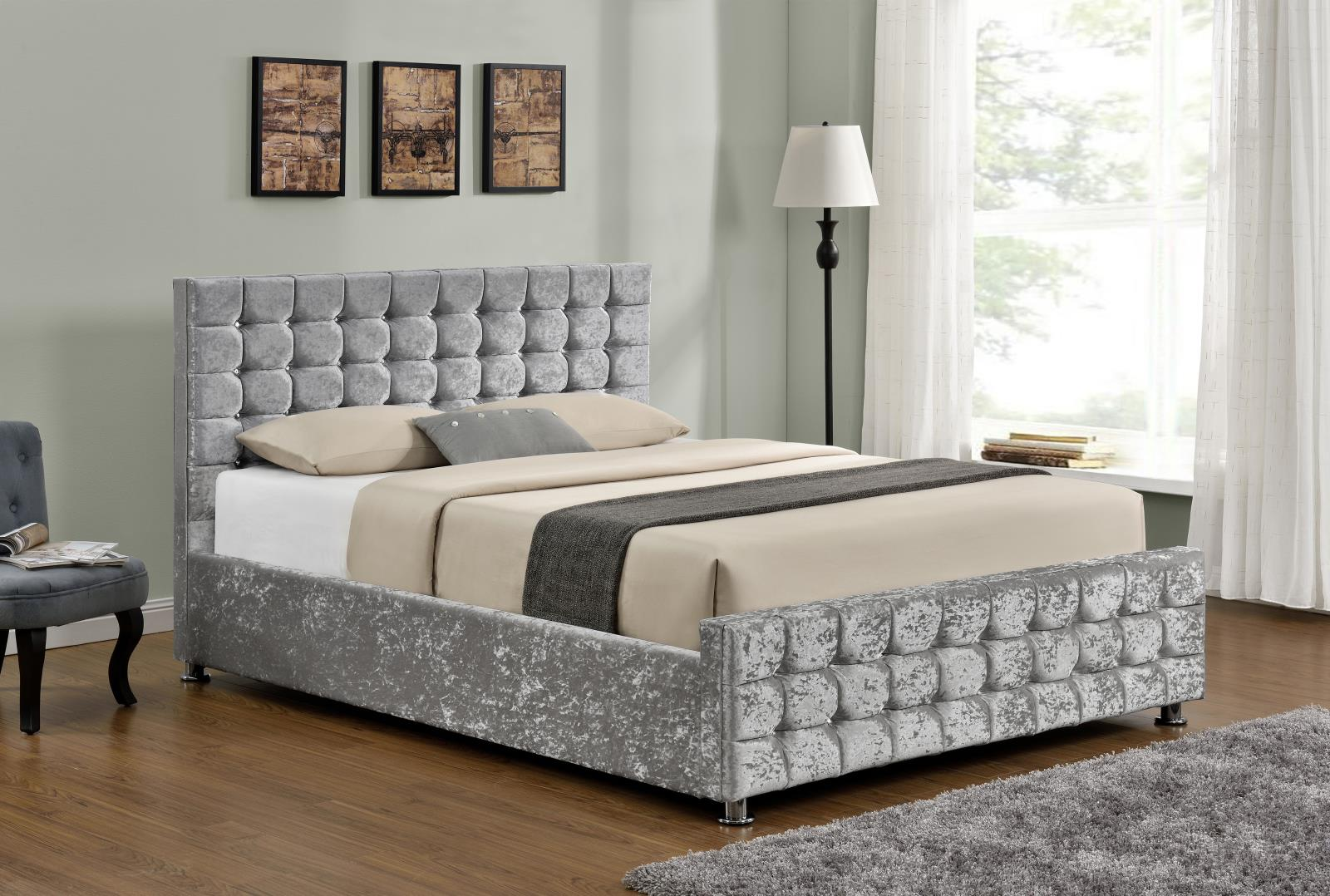Boston Silver Crushed Velvet Diamante Ottoman Bed Frame