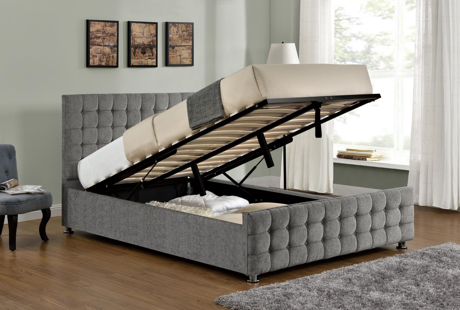 Boston silver chenille ottoman bed frame sensation sleep beds and mattresses - Beautiful snooze bedroom suites packing comfort in style ...