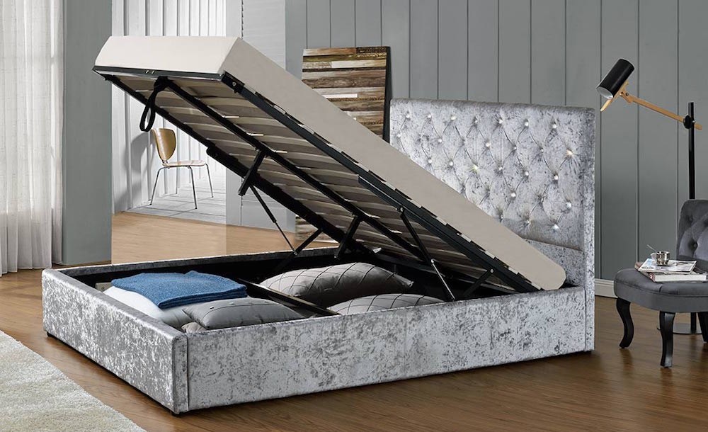 Warwick Diamante Silver Ottoman Bed Frame - Sensation Sleep Beds and ...
