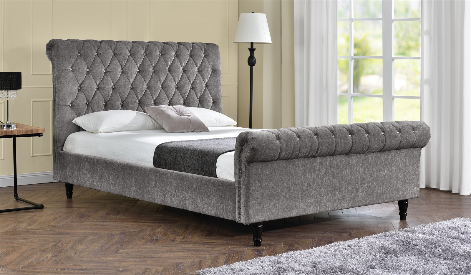 Brooklyn Diamante Crystal Mink Chenille Fabric Bed Frame