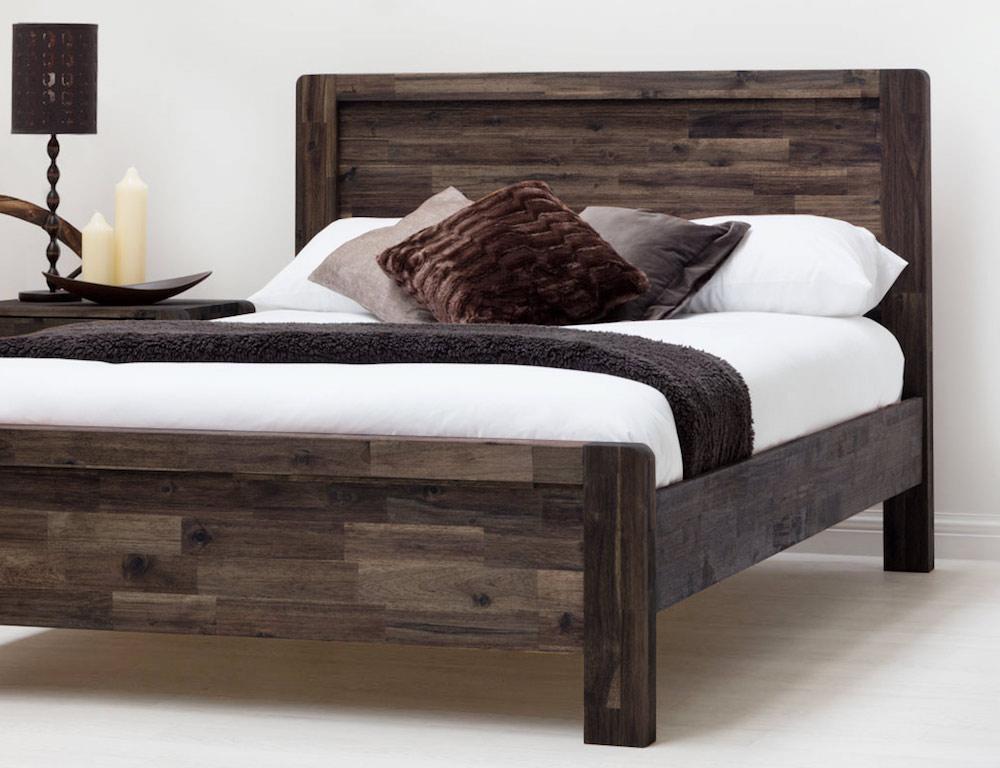 Details About Acacia Teak Solid Wood Bed Frame Handmade Rustic Look Wood Grain
