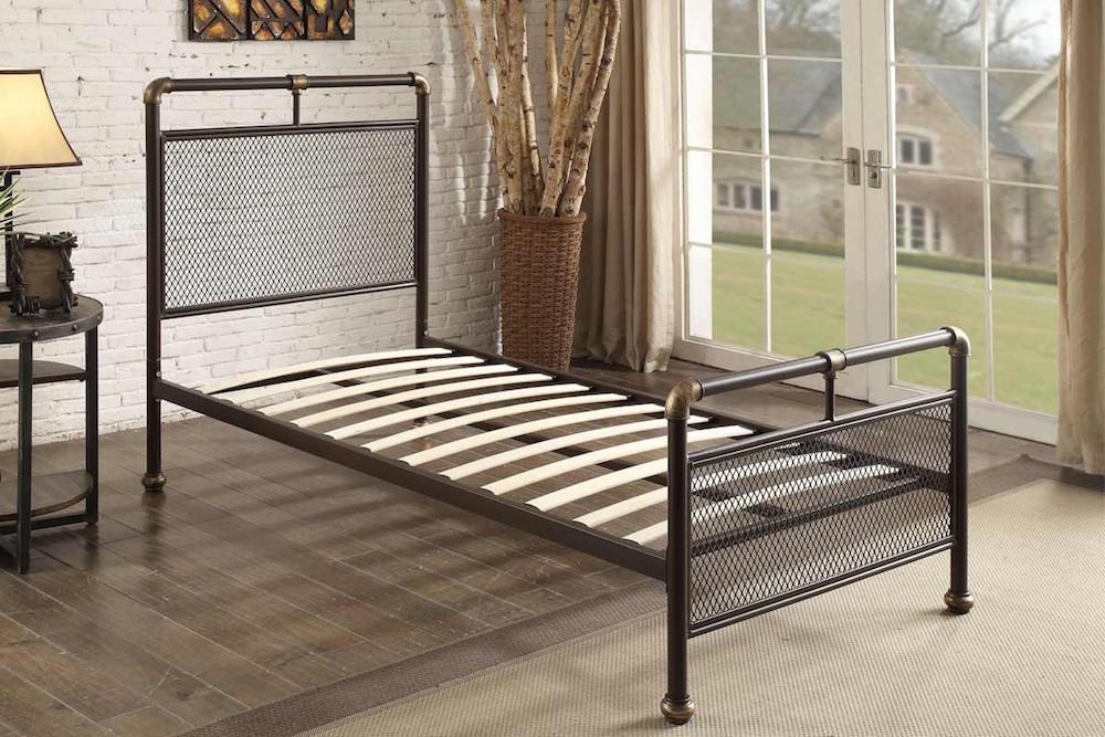 Scaffold Design Rustic Metal Bed Frame Bronze Mesh