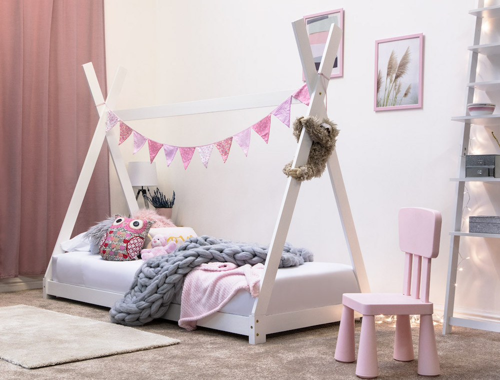 Childrenu0027s Tipi Solid White Wood Bed & Camping Tipi Tent Bed Frame Reading Tent Play Area White Wood 3ft ...